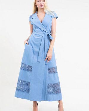 Синее однобортное платье Maxa