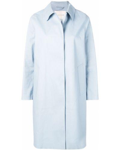 Прямое синее пальто с капюшоном Mackintosh