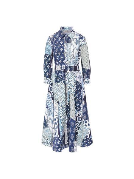 Платье с поясом в рубчик пэчворк Oscar De La Renta