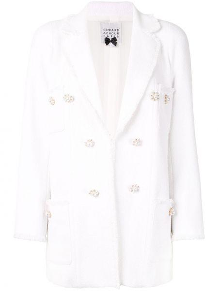 Белый пиджак твидовый двубортный Edward Achour Paris