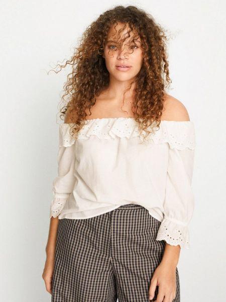 Блузка с открытыми плечами белая весенний Violeta By Mango