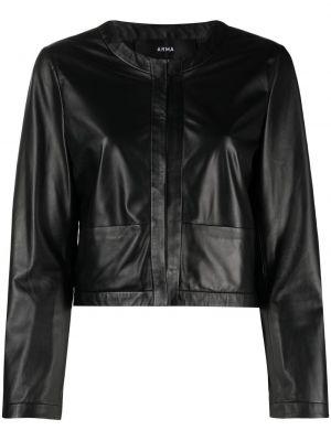 Черная кожаная короткая куртка с круглым вырезом Arma