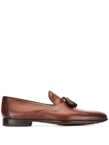 Кожаные коричневые лоферы с кисточками на каблуке Magnanni