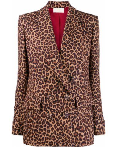 Коричневая длинная куртка с манжетами Sara Battaglia