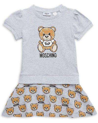 Хлопковое платье с короткими рукавами стрейч Moschino
