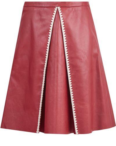 Кожаная юбка в складку с вышивкой Redvalentino