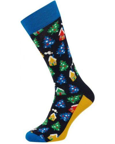 Prążkowane czarne skarpety bawełniane Happy Socks