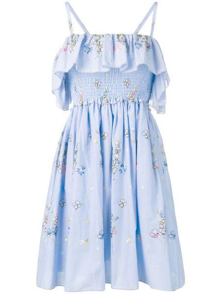Синее тонкое платье на бретелях с оборками Blugirl