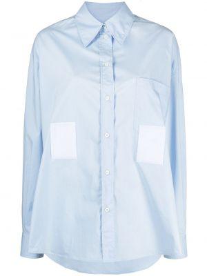 Хлопковая синяя с рукавами рубашка Mm6 Maison Margiela