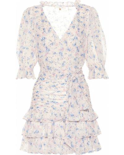 Платье мини шелковое с цветочным принтом Loveshackfancy