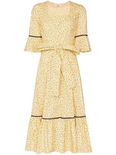 Платье с поясом винтажная с цветочным принтом Batsheva
