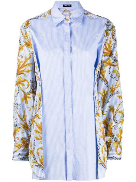 Классическая рубашка с воротником с вышивкой с манжетами на пуговицах Versace