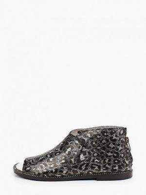 Серые кожаные туфли с открытым носком Tuffoni