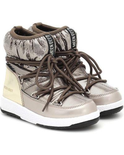Włókienniczy brązowy księżycowe buty Moon Boot Kids