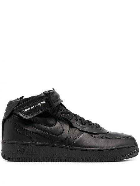 Ażurowy czarny top na sznurowadłach z prawdziwej skóry Nike