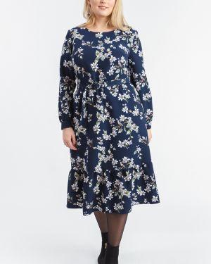 Платье с поясом на пуговицах синее Lacywear