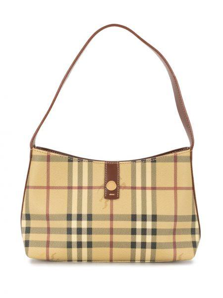 Кожаная коричневая сумка на плечо на молнии с карманами Burberry Pre-owned