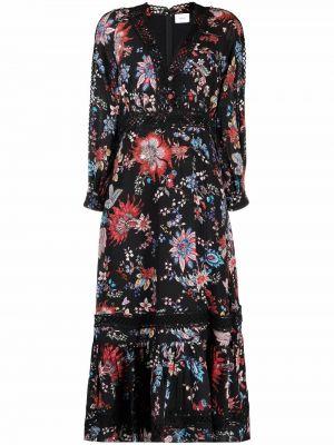 Czarna sukienka z printem Erdem