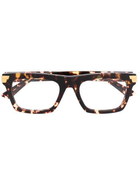 Золотистые коричневые очки прямоугольные прозрачные Bottega Veneta Eyewear