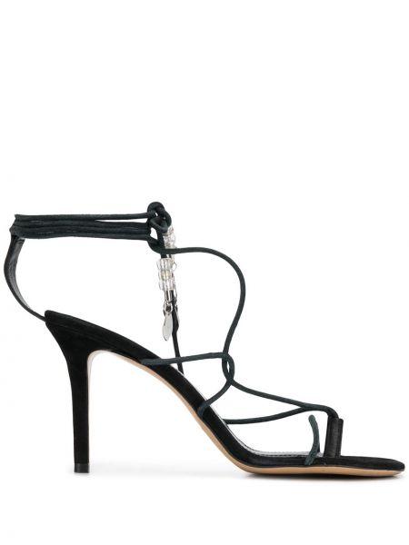 Z paskiem otwarty czarny sandały z prawdziwej skóry Isabel Marant