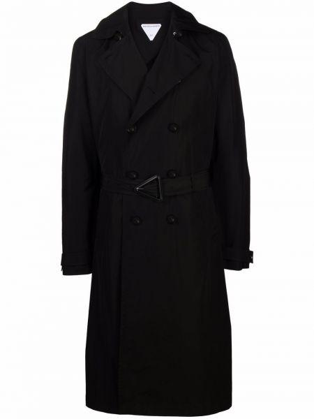 Czarny płaszcz z klamrą Bottega Veneta