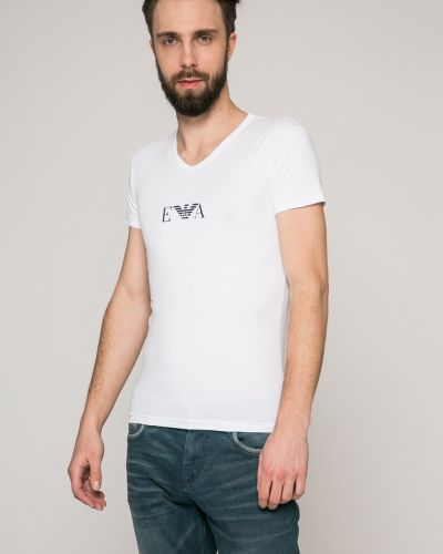 Белая футболка облегающая Emporio Armani