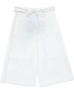 Белые широкие брюки на крючках со стразами Miss Grant