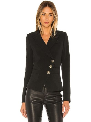 Черный пиджак на пуговицах из вискозы Smythe