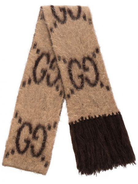 Czarny szalik z moheru przycięte prostokątny Gucci