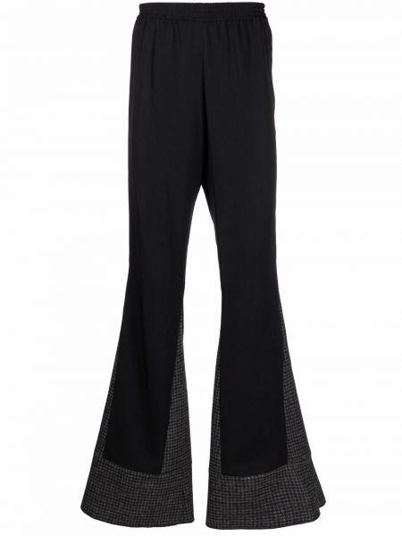 Czarne spodnie wełniane rozkloszowane Raf Simons