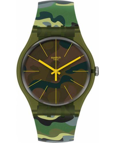 Коричневые силиконовые модные часы водонепроницаемые Swatch