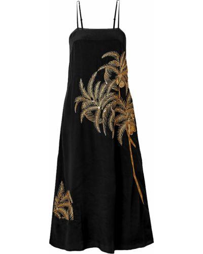 Czarna sukienka midi z cekinami z wiskozy Figue