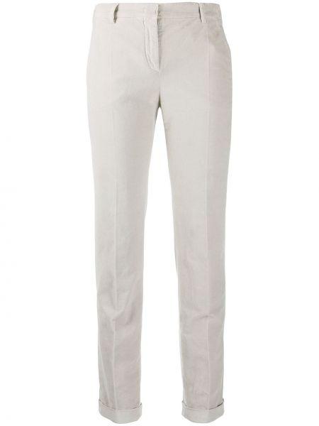 Хлопковые серые брюки дудочки с карманами Incotex