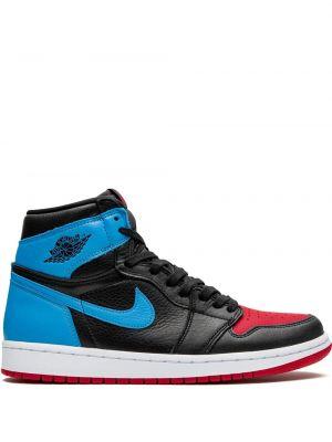 Кожаные кроссовки высокие черные Jordan