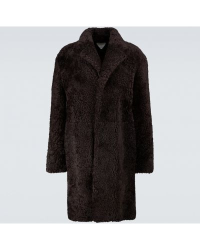 Ciepły brązowy długi płaszcz skórzany Bottega Veneta