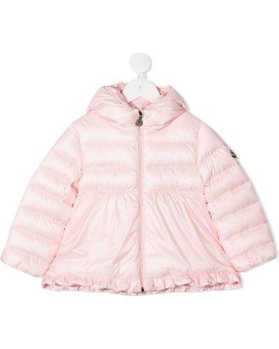 Розовое стеганое длинное пальто с воротником Moncler Kids