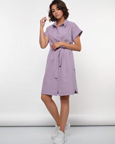 Прямое с рукавами платье-рубашка с поясом Jetty