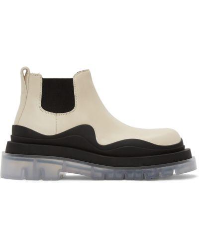 Кожаные ботинки челси - белые Bottega Veneta