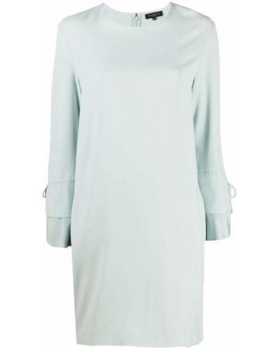 С рукавами шелковое синее платье макси Antonelli
