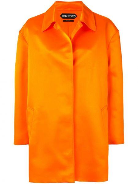Оранжевое шелковое открытое пальто с воротником Tom Ford