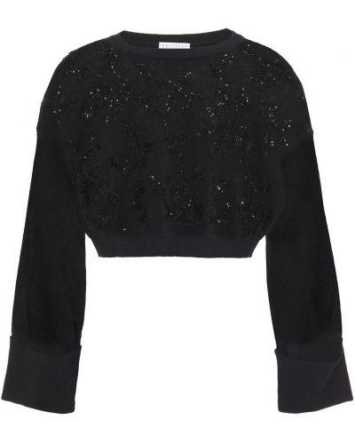 Черный вязаный свитер с пайетками Brunello Cucinelli