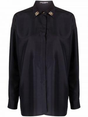 Koszula z jedwabiu - czarna Dolce And Gabbana