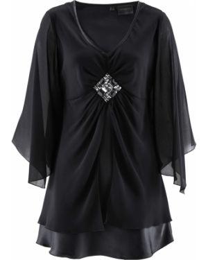 Блузка с длинным рукавом черная Bonprix