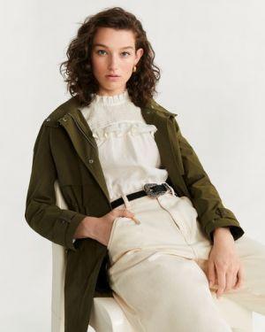 Пальто с капюшоном зеленое на кнопках Mango