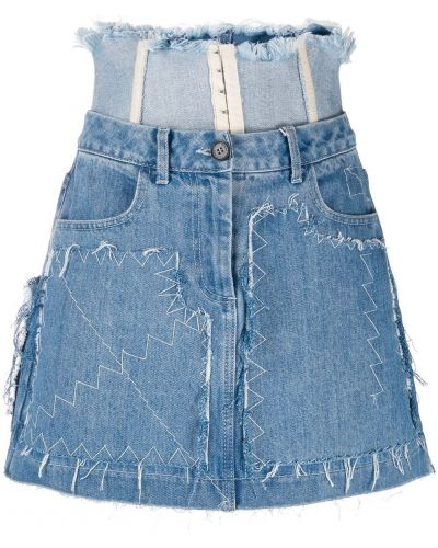 Плиссированная синяя юбка мини с поясом Ruban