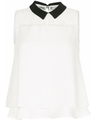 Блузка без рукавов приталенная белая Loveless