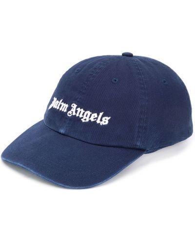 Bawełna bawełna ciemnoniebieski czapka z daszkiem z haftem Palm Angels