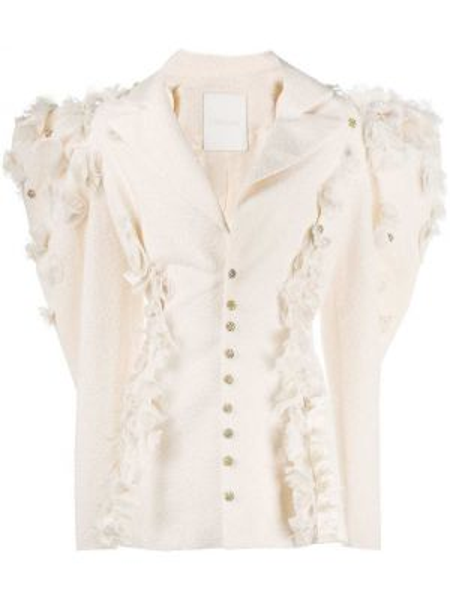 Белый пиджак оверсайз с бахромой Loulou