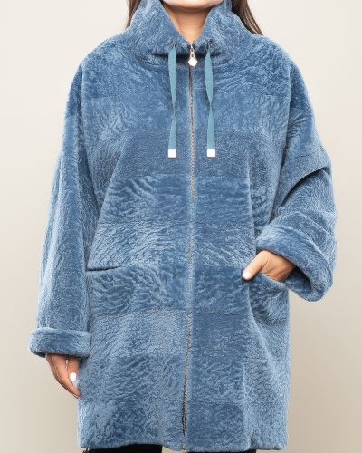 Прямое синее пальто с воротником Aliance Fur