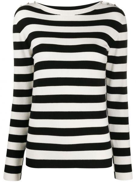 Тонкий свитер со стразами на пуговицах в рубчик Twin-set